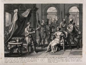 view Samson releases himself from his bonds; Delilah and the Philistines are astonished. Etching by B. Audran after F. Verdier, 1698.