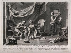 view Delilah caresses the sleeping Samson as she sets her barber to work. Engraving by J.B. de Poilly after F. Verdier, 1698.