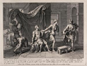 view The shorn Samson is rebuffed by Delilah. Engraving by C. Simonneau after F. Verdier, 1698.