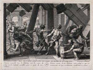 view Samson brings the house down upon himself and the Philistines. Engraving by B. Audran after F. Verdier, 1698.
