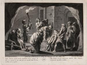 view Samson is entombed. Engraving by J.B. de Poilly after F. Verdier, 1698.