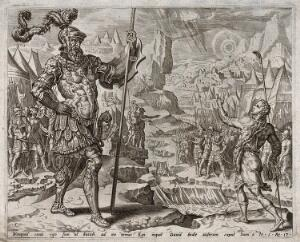 view Goliath, covered in splendid armour, towers over the humble David. Engraving.