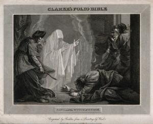 view The witch of Endor conjures up the ghost of Samuel at the request of Saul, who lies petrified on the ground. Engraving by W. Raddon, 1811, after B. West.