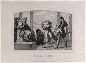 view Solomon judges the case of the two harlots and their babies. Line engraving by J. Eisenhardt, 1847, after E. von Steinle.