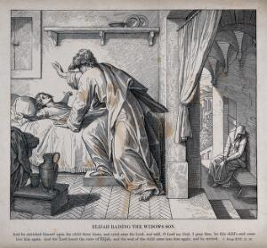 view The widow's son ecstatically returns to life in response to Elijah's prayer. Wood engraving.