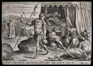 view David steals a spear and jug from Saul, who lies deep in a sleep imposed by God. Engraving.