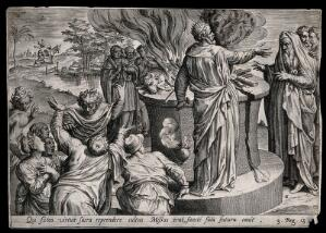 view An old prophet denounces the proceedings at a lavish sacrifice given by the wayward king Jeroboam. Engraving.