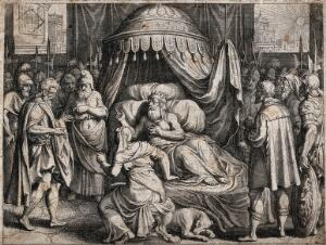 view Hezekiah lies ailing in bed, surrounded by anxious soldiers and ministers. Engraving.