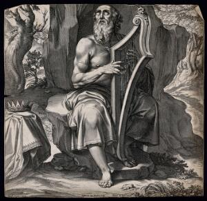 view An aging David strums his harp, reciting psalms. Engraving by E. van Panderen, c. 1620, after Giuseppe Cesari, il cavaliere d'Arpino.