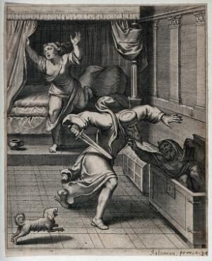 view A furious cuckold rushes at his rival with a sword. Engraving.