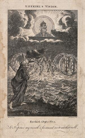 view Ezekiel has a vision of angels and spheres with eyes coasting along the thunderstruck sea. Etching by R. Pranker, 176-, after B. Picart.