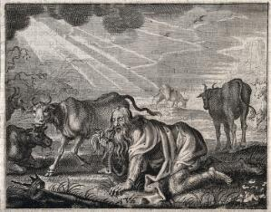 view Nebuchadnezzar, gone mad, grovels like a beast of the earth; he gropes for his crown. Engraving, 16--.