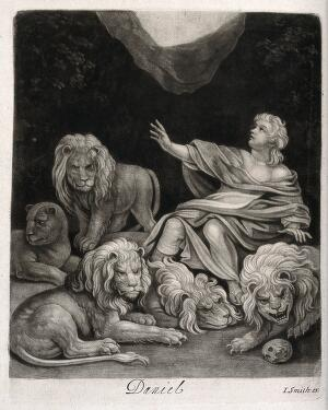 view Daniel trapped with lions. Mezzotint by J. Smith.