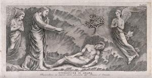 view Adam is formed by God. Etching by G.B. Leonetti after C. Cencioni after Nicola Pisano.