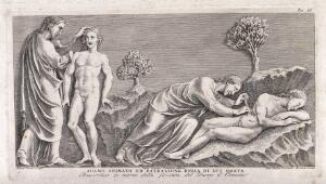 view God animates Adam and operates on his rib. Etching by G.B. Leonetti after C. Cencioni after Nicola Pisano.