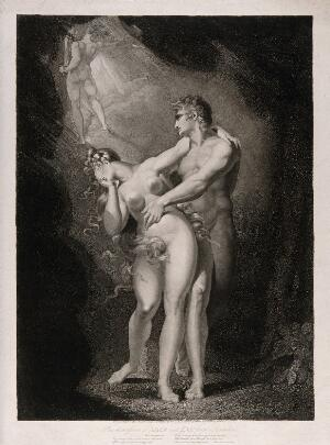 view The gates of Eden open to expel Adam and Eve, who stand caught in a terrified embrace. Aquatint by M. Haughton, 1805 after J.H. Füssli (Fuseli).