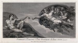 view The creation of Adam. Engraving by D. Cunego, 1772, after Michelangelo.