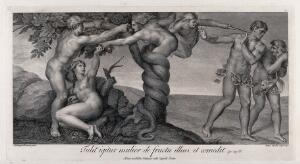 view Eve receives the forbidden fruit from a serpent in the shape of a woman; the angel expels Adam and Eve from paradise. Engraving by A. Capellani, 1772, after Michelangelo.