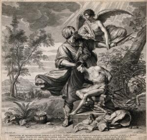 view The angel intervenes as Abraham prepares to sacrifice Isaac. Engraving by S.A. Bolswert, c. 1620, after T. Rombouts.