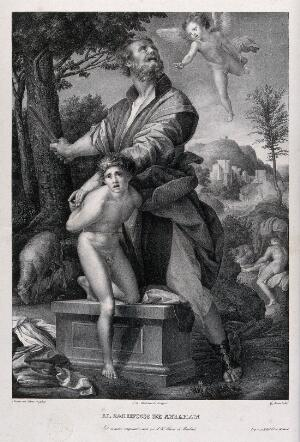 view A boy angel appears as Abraham prepares to sacrifice his son. Lithograph by G. Sensi y Baldachi after A. del Sarto, 1529.