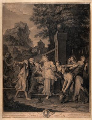 view Abraham's servant is impressed by the beautiful Rebecca, who stands in white amid the women around the well. Engraving by P.-I. Drevet after N. Coypel.