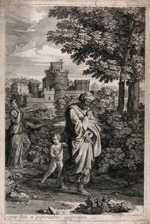 view The child Aaron being led away by Moses' father, after abandoning Moses in the bullrushes. Etching by C. Bouzonnet-Stella, 1672, after N. Poussin, 1654.