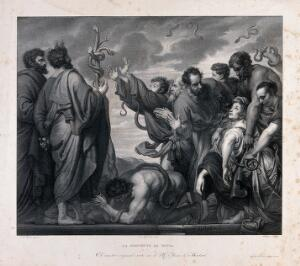 view Moses and Eleazar reveal the brazen serpent to the people afflicted with snakebite. Lithograph by A. Blanco after P.P. Rubens.