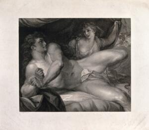 view As Samson breaks his bonds, Delilah pulls back the curtain to reveal her soldiers. Engraving after J.F. Rigaud.
