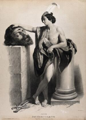 view David rests his hand on Goliath's severed head. Lithograph by B-R. Julien, 1845, after G. Reni.
