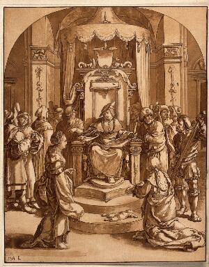 view Solomon judges the case of the two harlots. Aquatint after L. van Leyden.