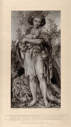 view The young shepherd David, cradling a lamb; an expired lion lies at his feet, next to a small dagger. Autotype after F.J. Shields, 1877.