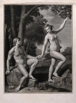 view Eve tempting Adam. Engraving by J. Massard, 1787, after C. Cignani.