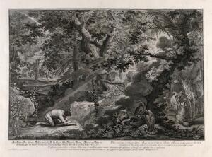 view Adam prays in the Garden of Eden. Etching by J.E. Ridinger after himself, c. 1750.