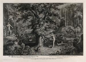 view Eve picks the apple from the tree as the serpent emerges. Etching by J.E. Ridinger after himself, c. 1750.