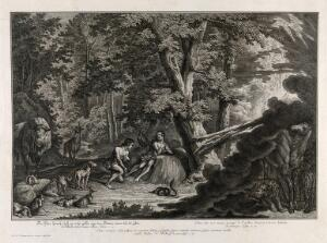 view Eve is reproached for eating the forbidden fruit. Etching by J.E. Ridinger after himself, c. 1750.