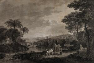 view Moses is retrieved from the Nile by Egyptian women. Engraving by S. Smith, 1786, after G. Robertson after F. Zuccarelli.