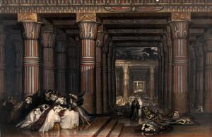 view The killing of the Egyptian firstborn by God. Coloured mezzotint by J. Martin, 1836, after himself.