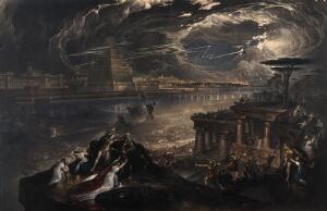 view The fall of Babylon; Cyrus the Great defeating the Chaldean army. Mezzotint by J. Martin, 1831, after himself, 1819.