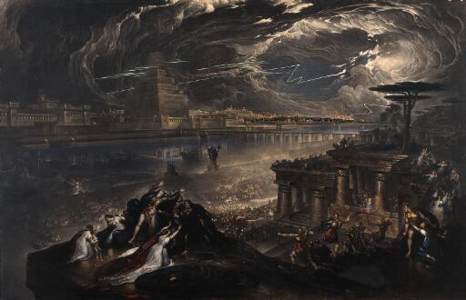 The fall of Babylon; Cyrus the Great defeating the Chaldean army. Mezzotint by J. Martin, 1831, after himself, 1819.