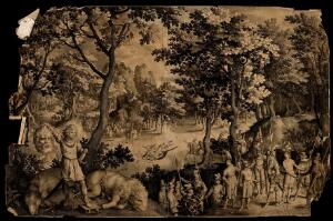 view David holds the head of Goliath; soldiers dressed in contemporary uniform stand by. Engraving by N. de Bruyn after himself, 1609.