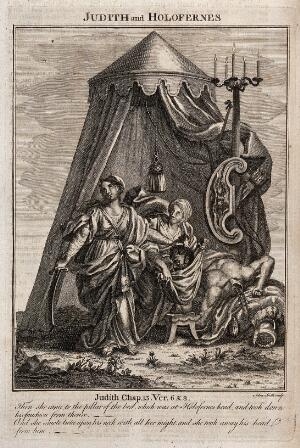 view Judith and her maid put the head of Holofernes into a bag. Engraving by A. Smith.