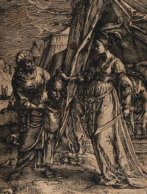 view Judith puts the head of Holofernes into her maid's bag. Etching.