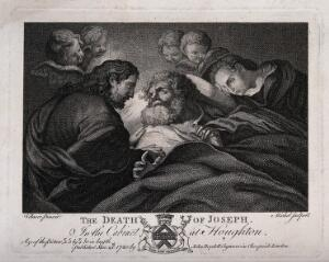 view Joseph dies attended by Jesus and Mary. Engraving by J.B. Michel, 1780, after A. Cano.