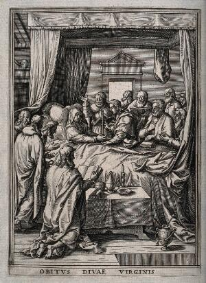view Mary enters her Dormition holding a candle, surrounded by the apostles. Engraving.