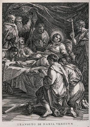 view The Dormition of the Virgin Mary, surrounded by the apostles. Engraving by B. Eredi after C. Maratta.