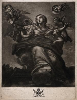 view The Assumption of the Virgin Mary. Mezzotint by R. Dunkarton after P. da Cortona.