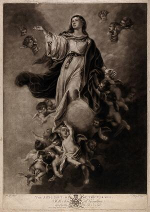 view The Assumption of the Virgin Mary. Mezzotint by V. Green, 1776, after J. Boydell after E.B. Murillo.