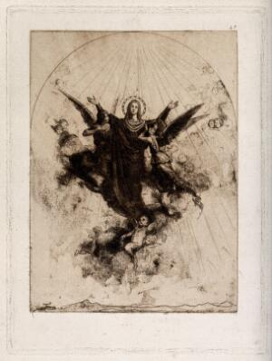 view The Assumption of the Virgin Mary. Drypoint by Torras.