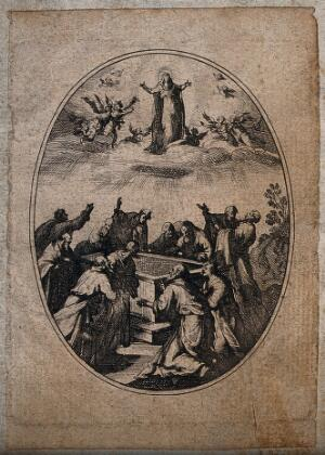 view The apostles around the empty tomb watch the Assumption of the Virgin. Engraving.