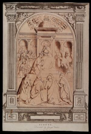 view Christ, enthroned, crowns Mary in heaven. Etching with aquatint by C.M. Metz after Giotto and G. Vasari.